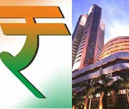 stock market down rupee weak