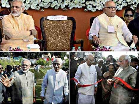 Gujarat Chief Minister and BJP PM Candidate Narendra Modi with senior BJP leader LK Advani