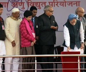 Prime Minister laying the foundation stone of Nuclear Power Plant at village Gorakhpur