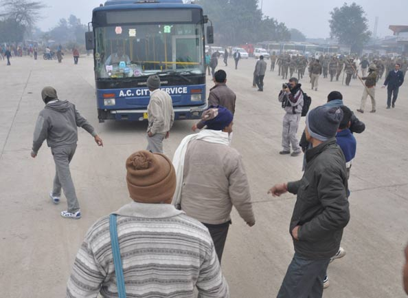 Haryana Roadways bus strike images