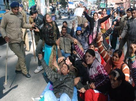 protest of shiksha acharya
