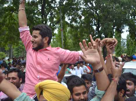 victory in student election in PU campus
