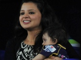 Sakshi Dhoni with a baby in Champions League.
