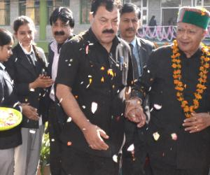 CM Virbhadra singh on a visit to Solan.
