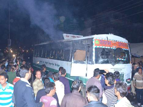 hrtc bus gutted in to fire at una himachal