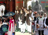 TMC MPs protest outside Parliament over black money issue.