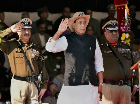 look different shades of rajnath singh during BSF function