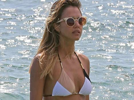 Jessica Alba shows off her killer figure in two sexy bikinis