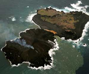 volcano eruption that made two islands merge