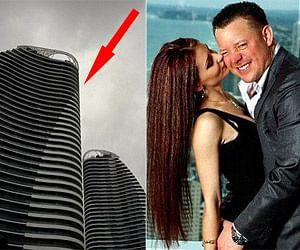 Model jumps between balconies to flee from millionaire partner