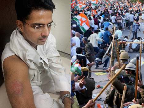 congress leaders including sachin pilot injured in lathicharge in jaipur.