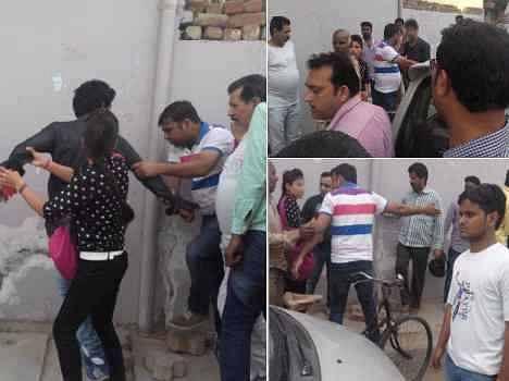 obscene gestures of jija sali in public place, beaten by people