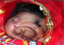 baby with trunk face named a lord ganesha,