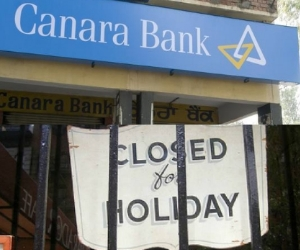 bank closed for a week due to holidays.