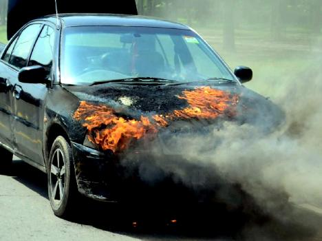 burning car in aam admi party mp hs phoolka cycle rally