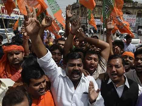 BJP protest against police recruitment scam.
