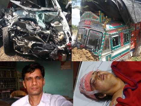 bjp mla son died road accident, see pics
