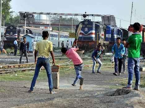 cricket near railway track in up