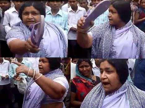 woman throws slipper on kushinagar sp