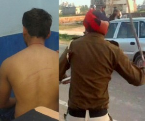 shameful act of punjab police, young man beaten at police station