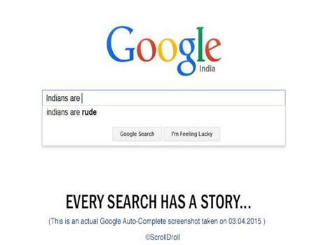Google auto suggestion shows that the stereotypes indians hold for each other