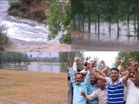 huge crop destrction in yamunanagr due to broke river road