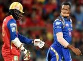Kieron Pollard put a tape on his mouth during IPL 8 match