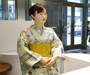 robot work as a receptionist in tokyo japan