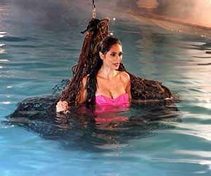 Actress Bruna Abdullah getting Oops momemet in swimming pool