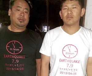 earthquake T-shirts are selling in Nepal
