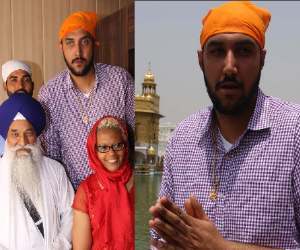 indo-canadian nba star basketball player sim bhullar in golden temple, amritsar
