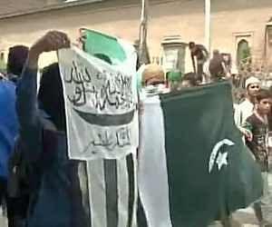 Pakistan Lashkar e Taiba flags waved at protest in Srinagar