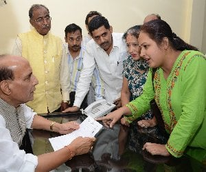 Home minister Rajnath Singh in Lucknow.