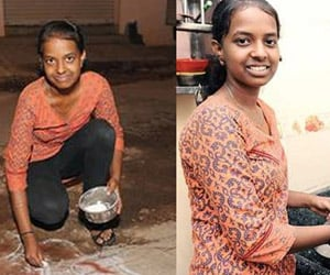 girl who used to work in houses topped the exams