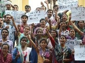 March for BTC teachers recruitment in Lucknow.