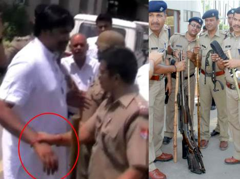 ramdev brother arrested, armed found in factory.