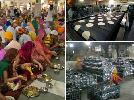 a kitchen in golden temple, where a 1 lakh people daily meal