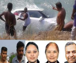 accident, car fell down bhakhra river, industrilist couple died, daughter life save