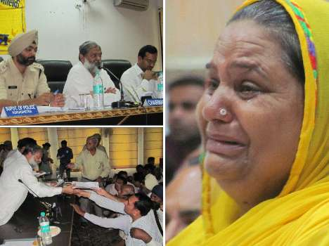 for justice old woman crying in front of minister
