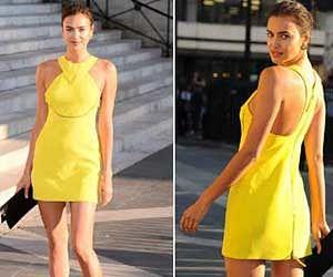 Model Irina Shayek at Paris fashion week