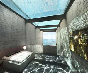 a glass house in the cliff of wide ocean