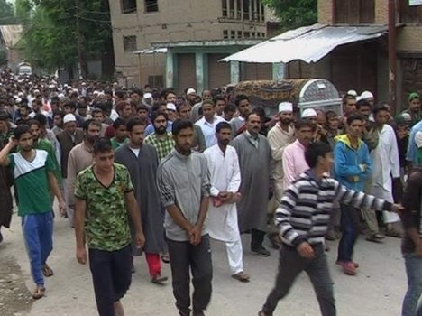 Funeral of retaired dsp at kulgam