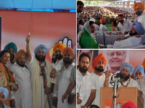 captain amarinder singh rally at mohali, target on badal government