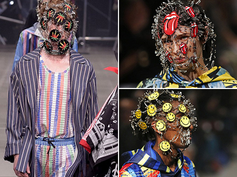 weirf fashion of safety pins on face in tokyo fashion week