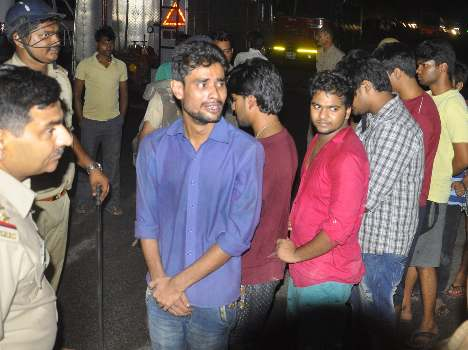 Police caught students who made ruckus.