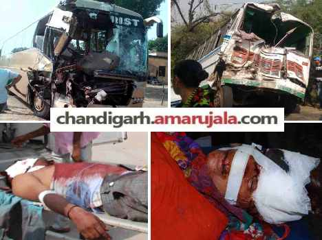 collision of 2 buses, brutal accident in rewari