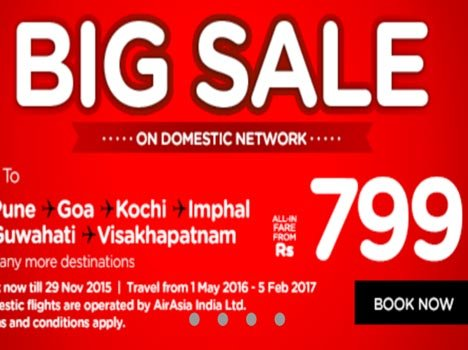 air asia sale offer of 799 rupeees