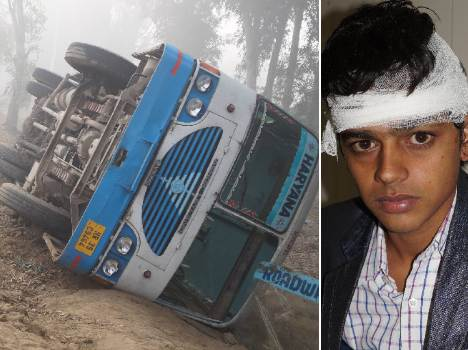 bus accident in hisar due to fog