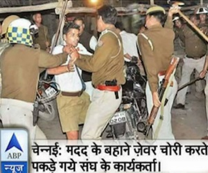 Nirmal khatri stranded to tweet fake photo of RSS volunteer