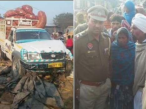 tempo hit family sleeping on road in fardikot, three dead